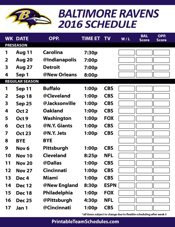 2016-17 Baltimore Ravens Schedule