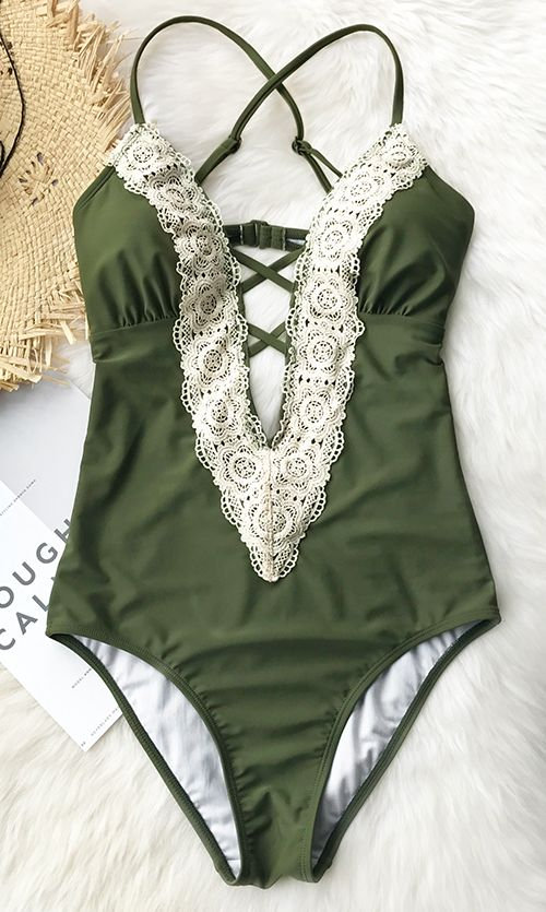 This summer is gonna be so lit! Soft and comfy, this one-piece bikini is the answer to beat the heat this summer. Its solid color and ornamental lace splicing make you both elegant and hot. Pick it up for summer break. Shop Now!