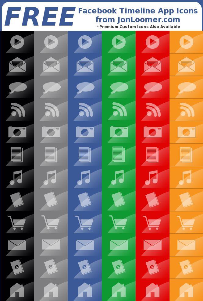 6 Free Sets of Facebook Timeline App Icons from @jonloomer.com  Thanks Jon!