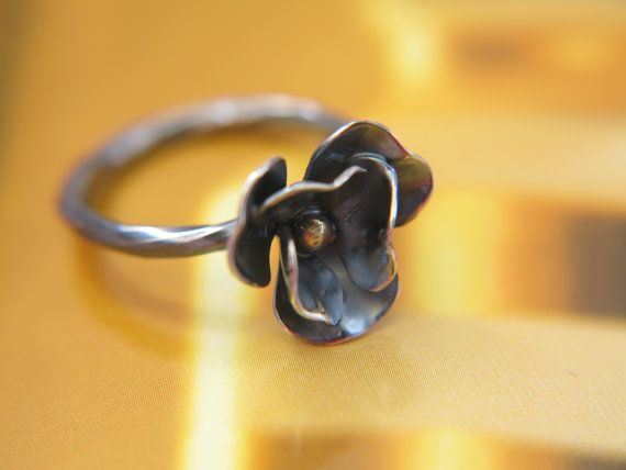 Silver flower ring  Delicate ring  Handmade by NPSilverStudio #ring #sterling #flowerring #silverring #flower