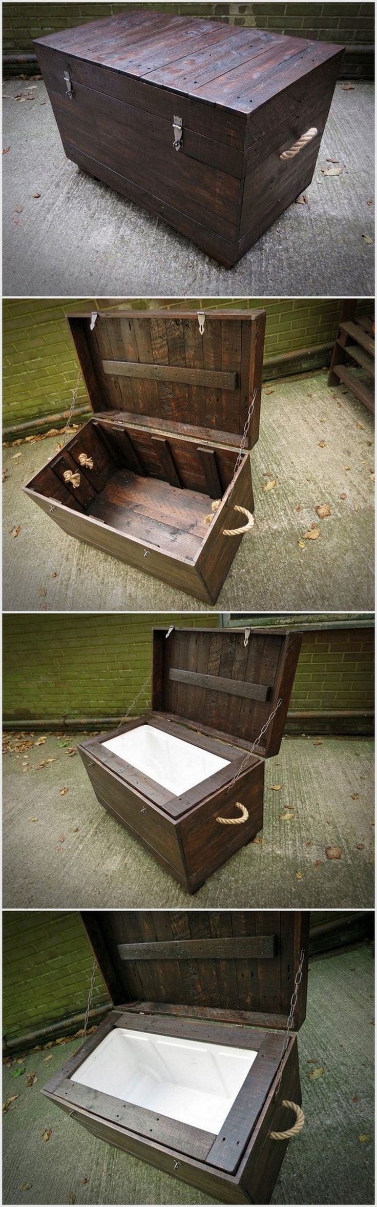 You can now create this big treasure box style from old wood pallets. We have placed holders along its sides to move it easily.
