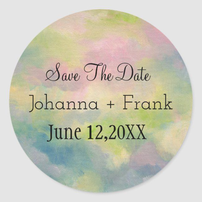 Save The Date Pastels Classic Round Sticker Zazzle Com Good Morning Beautiful World Quotes Change The World Quotes