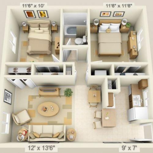 Modelo de 2 quartos simples com sala conjugada.