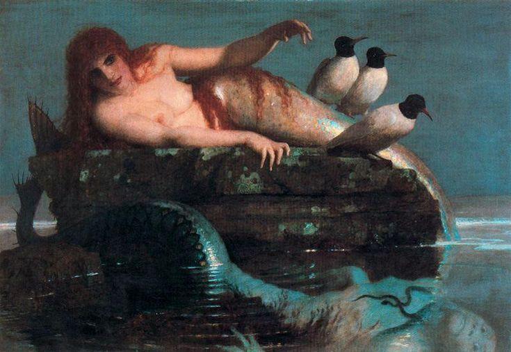 """""""Le Calme de la mer"""", Oil by Arnold Bocklin (1827-1901, Switzerland)"""