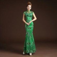 Pretty Embroidery Cheongsam Qipao Fishtail Dress - Green