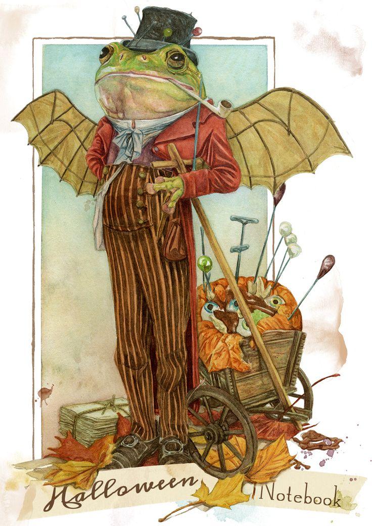 Halloween Notebook  (Goblin frog) de MontseRubioArt en Etsy