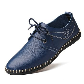 Fashion Brand Men Shoes Leather Sapatos Masculino Soft Massage Casual Schoenen Black Blue Orange Size 38 to 44