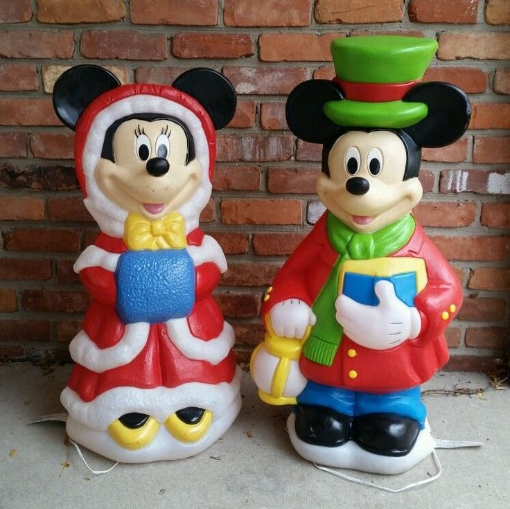 Vintage Blow Mold Christmas Carolers Christmas Lawn Decor: Santa's Best 1998 Minnie And Mickey Mouse Christmas