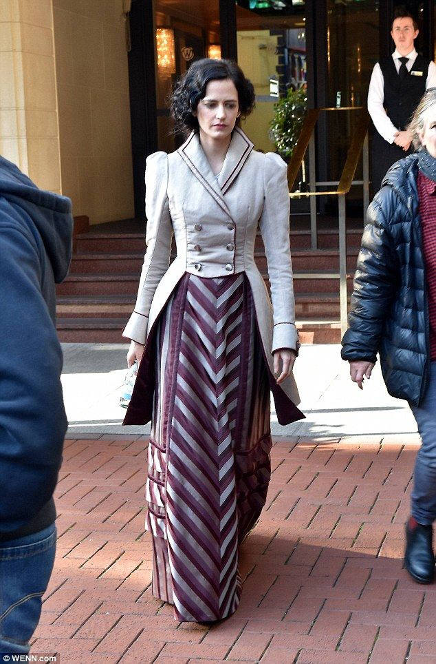Looking the part: Eva Green cut a regal figure on Monday as she filmed scenes for Penny Dreadful in Dublin
