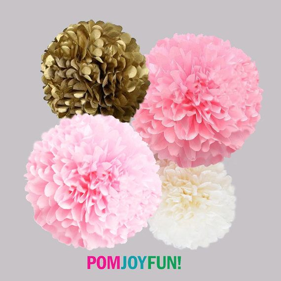 Pink and Gold Tissue Paper Pom Poms 4 Piece Set - Weddings - Bridal Shower - Decorations - Birthday - Nursery - Party Decorations