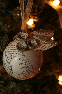 Book page Christmas ornament