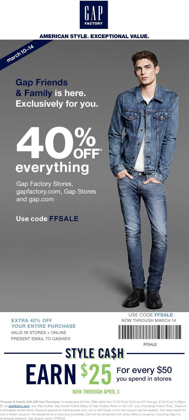 Pinned March 10th: 40% off everything at #Gap #Gap Outlet #Gap Outlet Kids & Baby or #Gap Factory Store or online via promo code FFSALE #coupon via The #Coupons App
