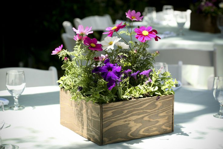 I love the idea of having wooden boxes filled with flowers for centerpieces at the reception. Beautiful and rustic.