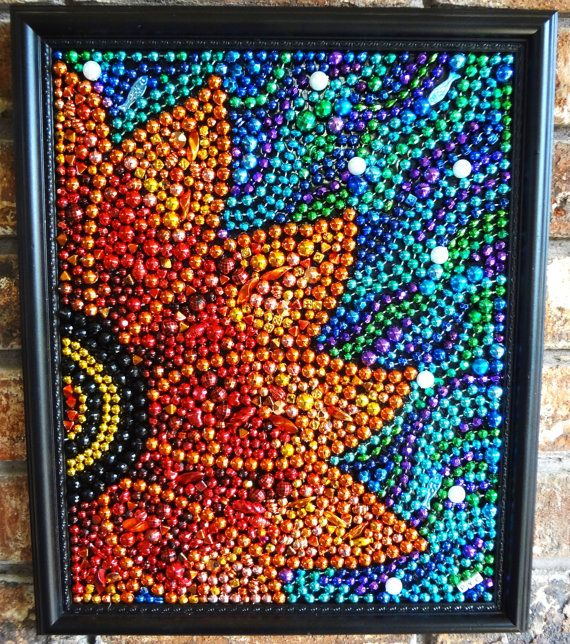 Custom Order Original Wall Art    Festive Orange    This framed Mardi Gras bead orange flower is a vibrant colorful piece that will show off your