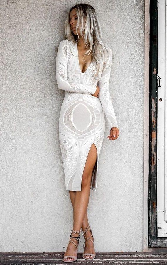 Croched beige dress. Elastyczna sukienka z ażurowymi wzorami. www.lejdi.pl