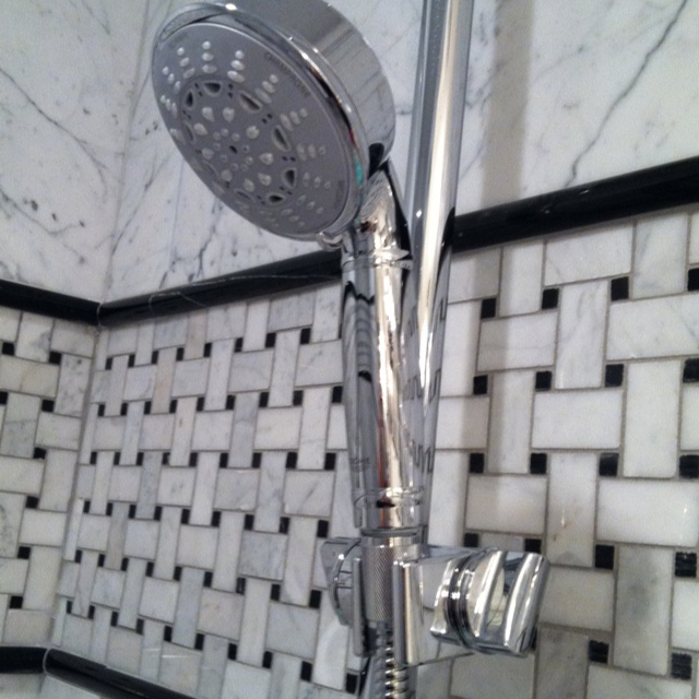 Black And White Shower Tile Basketweave Accent Band With