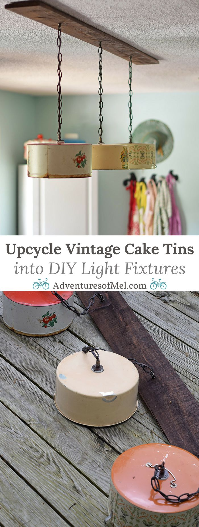 Create a farmhouse kitchen look with DIY light fixtures upcycled from vintage cake tins. How to create a charming look with affordable and simple kitchen lighting.