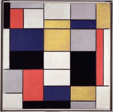 Mondrian, Piet, Grande composizione A con nero, rosso, grigio, giallo e blu, 1919 - 1920, inv. 5519