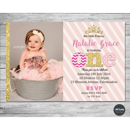 Princess 1st Birthday Pink and Gold Personalised Invitation - Printed
