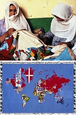 Women in Peshawar Pakistan embroidering a Map by Boetti in 1990. Photo by Randi Malkin Steinberger. Boetti planned the design and oversaw the transfer of the colored map to the cloth ground. Once this...