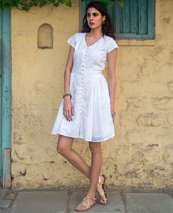 White Hand Embroidered Chikankari and Mulmul Dress | Mogra Designs