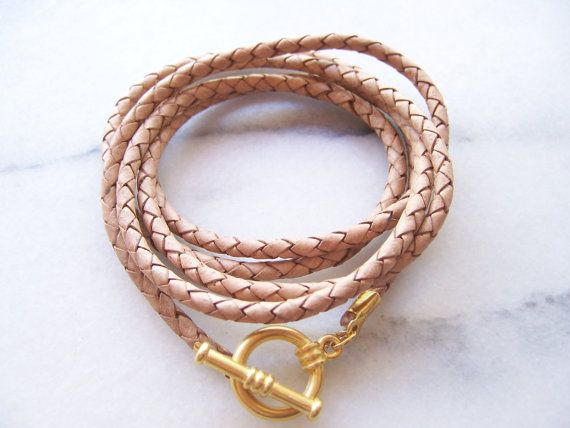 Natural Nude Braided Leather Cord Bracelet with by sandinthesky, $25.00