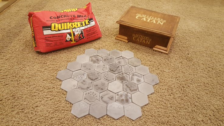 My son and I created hand sculpted 3D Settlers of Catan pieces, as well as a hand built wooden box to store them in. The Catan game tiles were sculpted in modeling clay, molded in silicone, and then cast using Quikrete Fast-Setting Concrete mix. The Fast-Setting mix worked perfectly for this application because each piece could be demolded within 30 to 40 minutes, and by adding a little extra water, the mix captured immense details in every piece.  #QUIKRETE1BagWonder