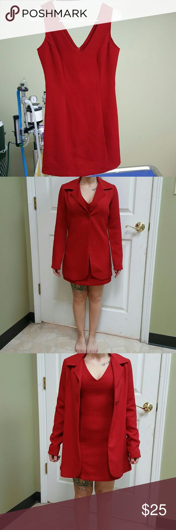 """Fredricks of Hollywood size 2 dress Red party dress 29"""" shoulder to bottom (jacket approximately 31"""") bust approx 29"""" hips approx 32"""" Fredricks of hollywood  Dresses Mini"""