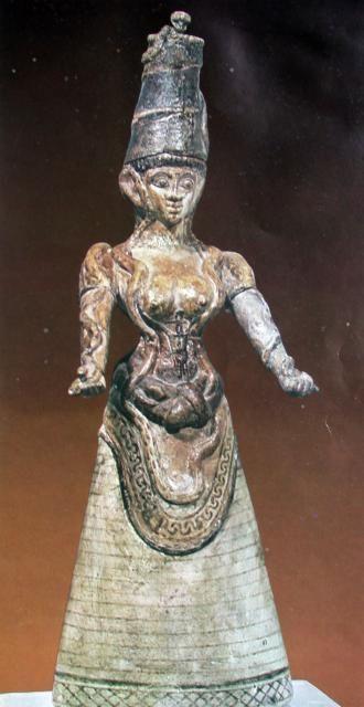 Snake goddess, c1600 BC, Minoan