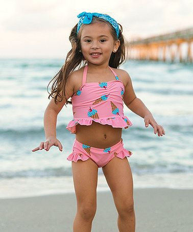 Loving this Pink Ice Cream Cone Ruffle Tankini - Toddler. Too bad she's banned from ever wearing a bikini....