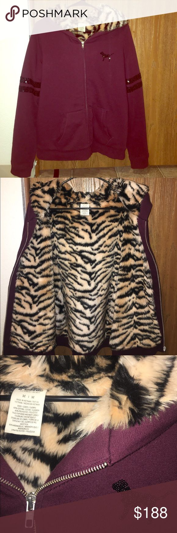Victoria's Secret pink rare tiger fur hoodie Amazing condition! worn up to 2-3 times!! This is limited edition and goes for a lot. I'd maybe trade but it would have to be for a few items. This sells for A LOT! Trading price is $200+- depending. Feel free to make an offer thru the offer button! PINK Victoria's Secret Sweaters