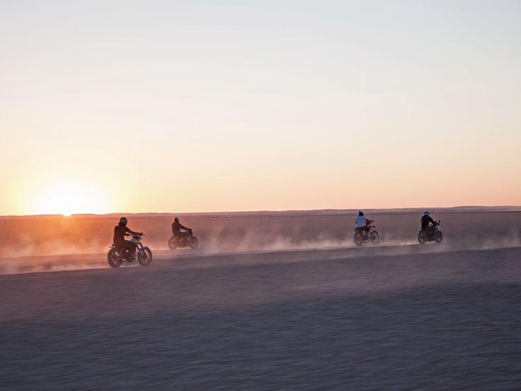 Motorbikes at sunset