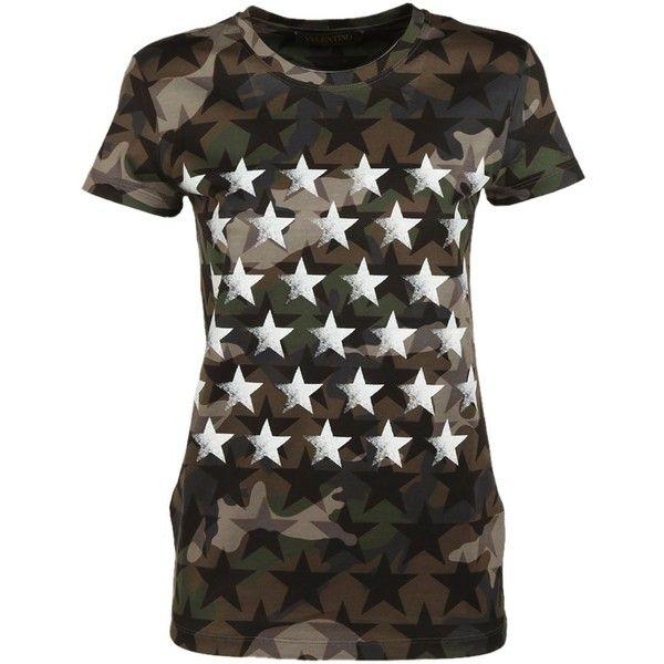 Camustar Print T Shirt (460 CAD) ❤ liked on Polyvore featuring tops, t-shirts, camuflage, camouflage tee, print tees, camouflage t shirt, camo top and cotton t shirts
