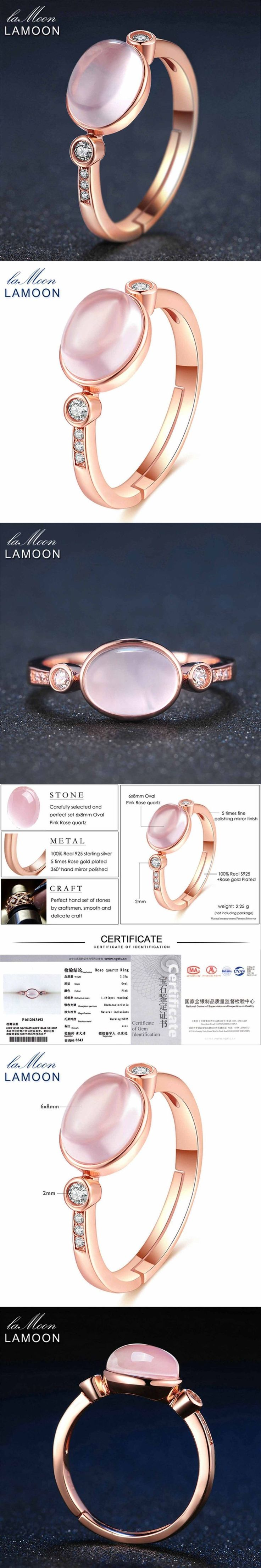 LAMOON Fine Jewelry Oval Rose Quartz   Rings 925 Sterling Silver 100% Natural Adjustable Romantic Wedding Ring #fineweddingrings #weddingring