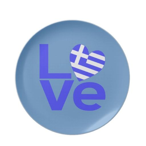 "Greece in Love Party Plates -- perfect for an Ohi (oxi) Day party! The word love in blue with a heart shaped Greek flag for the ""O"". -- #Greece #GreekFlag #OhiDay"