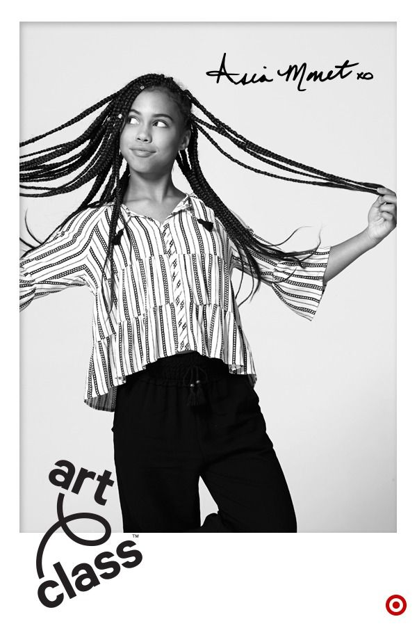 Welcome to Art Class, where style is what you make it. It's Target's new kids fashion brand and some of the collection was even designed with kids. Meet Asia Monet Ray. She's a dancer singer and a co-designer for Class of 2017. Her striped shirt has flared sleeves and a flared bottom, plus tassels! Its flowy look is perfect for any occasion and goes with anything too. Mix, match and create your own style with Art Class. Only at Target.