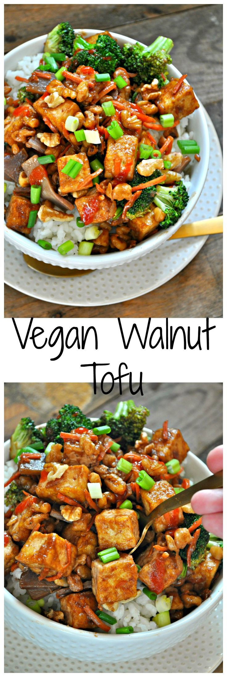 This walnut tofu is better than takeout! Crispy tofu, veggies and walnuts tossed in a delicious Asian sauce! Super quick and delicious!