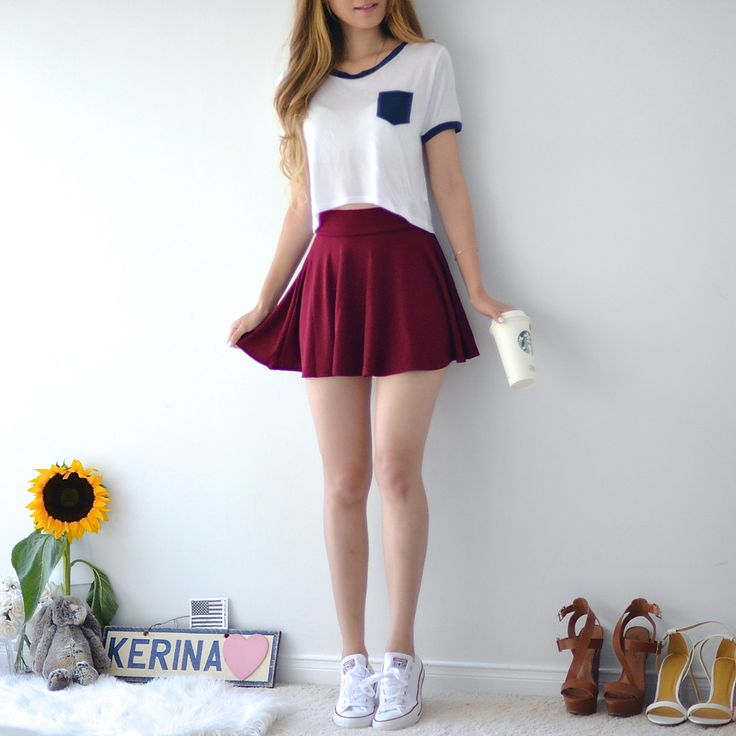 Carrie Circle Skirt - Wine Red – MANGO RABBIT