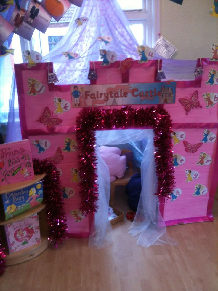 Role play area i created using recycled cardboard boxes.