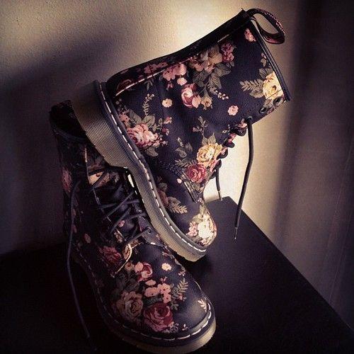 Floral Doc Martens<3 pretty.