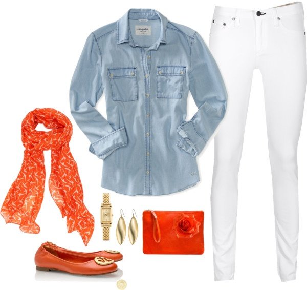 """Orange, Chambray Denim, White, Gold Outfit """"Chambray Outfit #3"""" by maria-garza on Polyvore"""