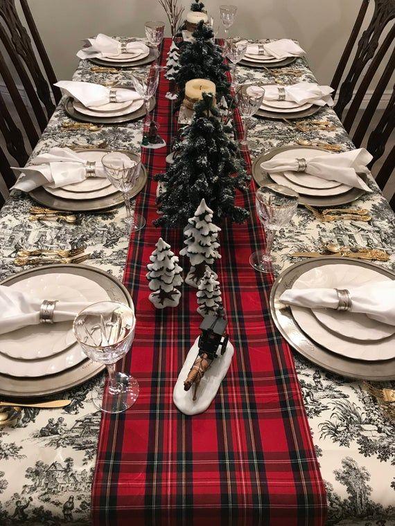 Red Tartan Table Runner Scottish Plaid Royal Stewart Plaid | Etsy | Christmas table cloth, Christmas dining table, Christmas dining table decor