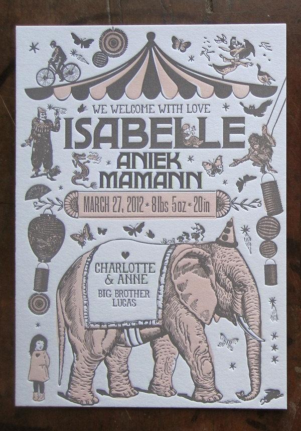Custom Design Letterpress Birth Announcement & Thank You Card Suite Vintage Circus Theme. $5,00, via Etsy.