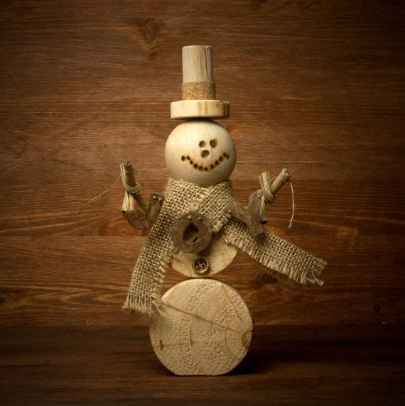 Wooden Snowman JOY by ForMomentsinTime on Etsy
