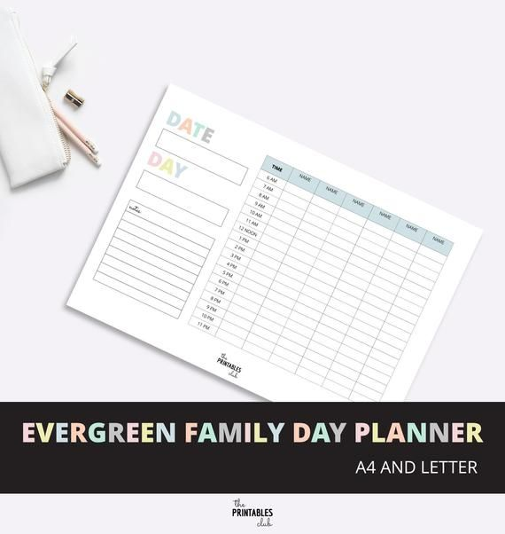 printable family day planner family organizer daily family planner