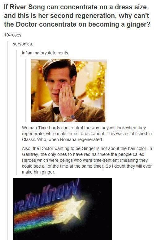Or it will be the last shot we see of him: Regeneration and a shot of ginger Doctor before he turns and walks into the TARDIS one final time...