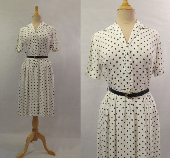 Spotted Shirt Waist Dress  1950s by LouisaAmeliaJane on Etsy