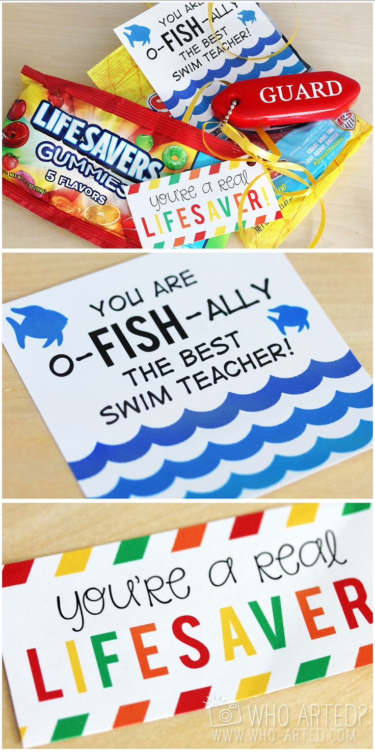 Swimming Instructor Gift Tags! Just print, cut out and attach to Lifesavers or Swedish Fish. Such a thoughtful and creative idea!