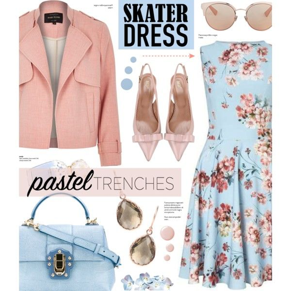 Floral Skater dress by anyasdesigns on Polyvore featuring moda, Miss Selfridge, River Island, RED Valentino, Dolce&Gabbana, Latelita, Christian Dior, Topshop, SkinCare and Marc Jacobs