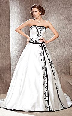 A-line Sweetheart Court Train Satin Wedding Dress with Split... – USD $ 199.99